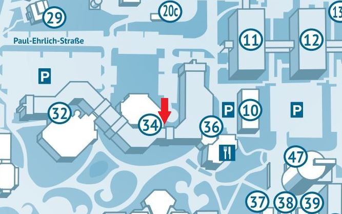 Campus map, room 34/217 marked